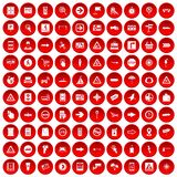 100 pointers icons set red. 100 pointers icons set in red circle isolated on white vector illustration Stock Image