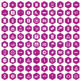 100 pointers icons hexagon violet. 100 pointers icons set in violet hexagon isolated vector illustration Stock Illustration