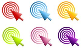 Pointers and Radial Bullseye Icons Stock Photo
