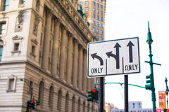 Pointers on the road to streets in New York City Royalty Free Stock Photo