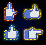 Pointers tablets hand glowing lights set. Retro thumbs up with l. Ight bulb. Like Vintage directions. Index Shining light. Fuck aggressive gesture Royalty Free Stock Photography