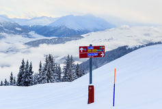 Pointers to the track in the ski resort Laax Stock Photo