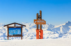 Pointers to the track in the ski resort Meribe Stock Photography