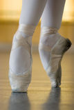On the pointes. Ballerina is dancing, standing on the pointes Royalty Free Stock Image