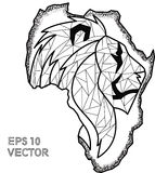 Pointilism eps Африки льва контура Стоковое Фото