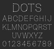 Pointille le calibre de police d'alphabet Ensemble de lettres et de nombres Illustration de Vecteur