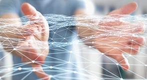 Pointillez le réseau de vol tenu par le rendu de l'homme d'affaires 3D Photos libres de droits