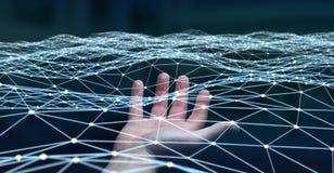 Pointillez le réseau de vol tenu par le rendu de l'homme d'affaires 3D Image stock