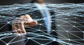 Pointillez le réseau de vol touché par le rendu de l'homme d'affaires 3D Images stock