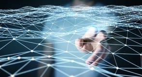 Pointillez le réseau de vol touché par le rendu de l'homme d'affaires 3D Photo stock