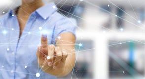 Pointillez le réseau de vol touché par le rendu de la femme d'affaires 3D Image libre de droits