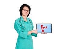 Pointing at 911 symbol Royalty Free Stock Image