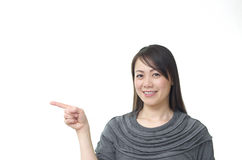 Pointing Asian Woman Royalty Free Stock Photo