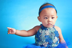 Pointing Japanese Baby Stock Photography