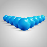 Pointing balls, balls pointing ahead, set of balls Stock Image