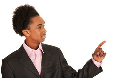Pointing black business man Stock Images