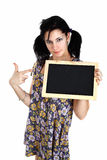 Pointing at blackboard Royalty Free Stock Photo
