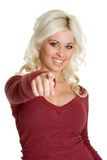Pointing Blond Woman Royalty Free Stock Photos