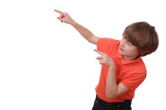 Pointing boy Stock Images