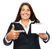 Pointing business card Stock Image