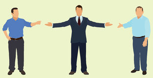 Pointing Businessmen. Business men Pointing or Motioning Toward Something Stock Images