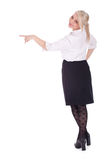 Pointing businesswoman, teacher in elegant blouse Stock Photography