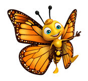 pointing  Butterfly cartoon character Royalty Free Stock Images
