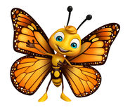 Pointing  Butterfly cartoon character. 3d rendered illustration of pointing Butterfly cartoon character Royalty Free Stock Images