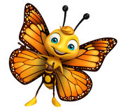 Pointing Butterfly cartoon character. 3d rendered illustration of pointing  Butterfly cartoon character Stock Photography