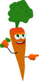 Pointing carrot with money in his other hand Royalty Free Stock Image