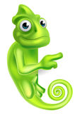 Pointing Cartoon Chameleon Royalty Free Stock Images