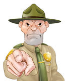 Pointing Cartoon Forest Ranger Royalty Free Stock Photo