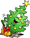 Pointing Christmas Tree. Hand-drawn Vector illustration of an Pointing Christmas Tree Royalty Free Stock Image