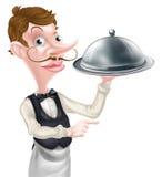 Pointing Cloche Waiter Stock Photo