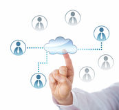 Pointing At Cloud Icon Linked To Office Workers Stock Photos