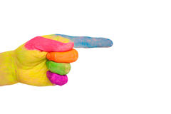 Pointing colorful hand, ready for text or symbols. Royalty Free Stock Image