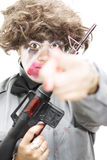 Pointing Crazed Lunatic. Crazed Lunatic Points Her Hand In Your Direction With A Expression Of Shock While Carrying A Rifle In A Image About Vengeance And Royalty Free Stock Image