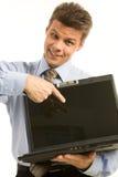 Pointing at desktop Stock Photo