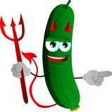 Pointing devil cucumber or pickle Royalty Free Stock Images