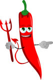 Pointing devil red hot chili pepper Royalty Free Stock Photography