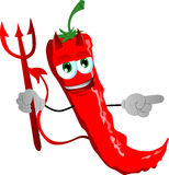 Pointing devil red hot chili pepper Royalty Free Stock Photo