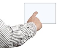 Pointing digital box with finger Stock Image