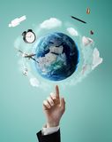 Pointing on earth Royalty Free Stock Images