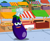 Pointing eggplant chef with pizza on the market Royalty Free Stock Photography