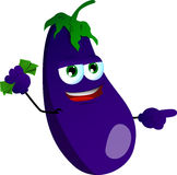 Pointing eggplant with money in his other hand Stock Image