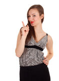 Pointing elegant smiling woman Royalty Free Stock Images