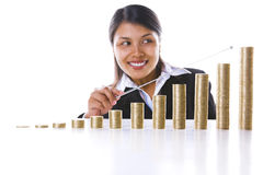 Pointing at the end year profit graph Royalty Free Stock Image