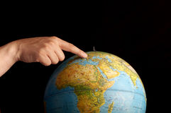 Pointing at Europe Stock Photography