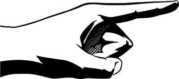 Pointing finger. Black on white vector illustration