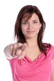 Pointing with finger Stock Image